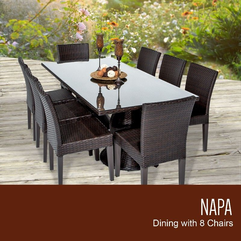Napa Rectangular Outdoor Patio Dining Table W 8 Armless Chairs In