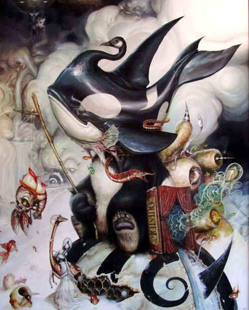 via:streetminotaur  Simkin's childhood obsessions were books such as Watership Down and The Phantom Tollbooth and have become very important to his artistic tastes and vision. His sense of imagination, surrealism and technical prowess makes these fine art acrylic paintings a heck of an enjoyable jaw-