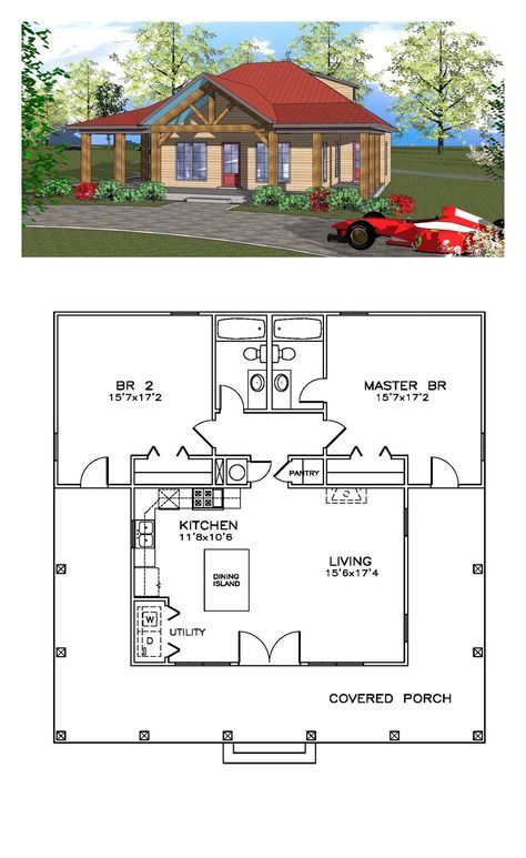Southern Style House Plan with 2 Bed 2 Bath