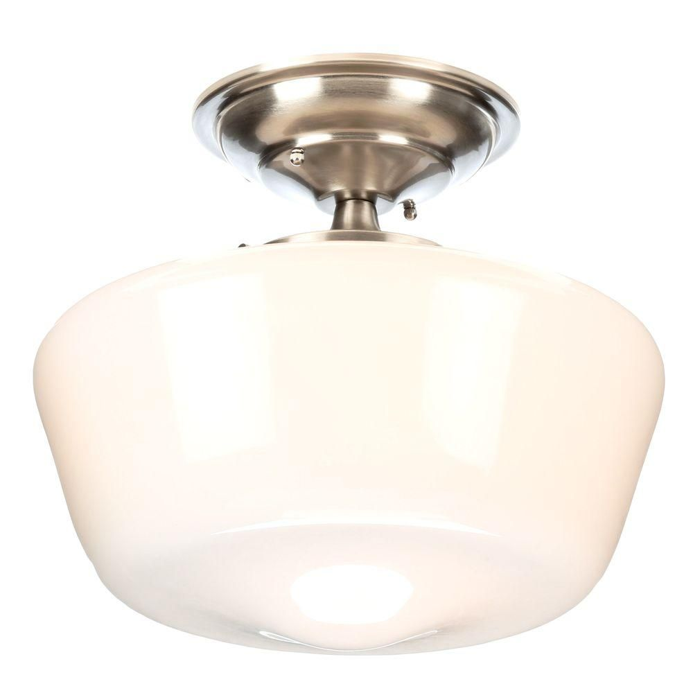 Schoolhouse Lighting Home Depot: World Imports Luray Collection 1-Light Brushed Nickel Semi