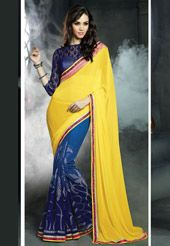 e74502910e Yellow and Blue Faux Georgette and Brasso Saree with Blouse   My ...