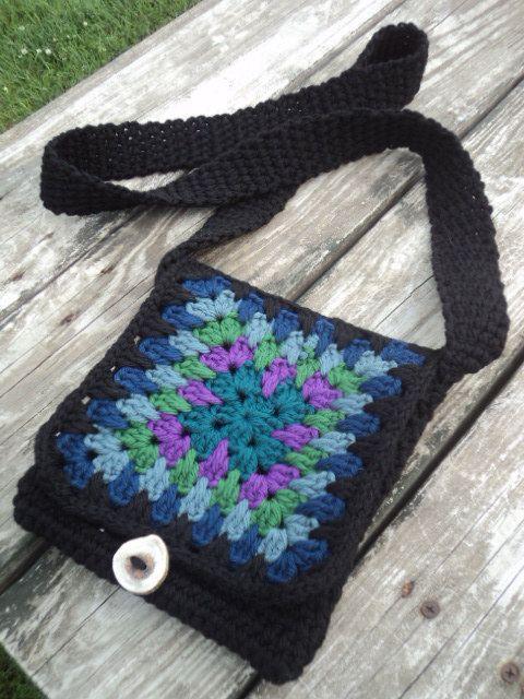 Hand Crochet Small Pursebag Rainbow Granny By Wendyswonders127