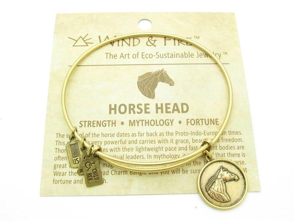 Wind /& Fire Horse Head Gold Finish Charm Bangle
