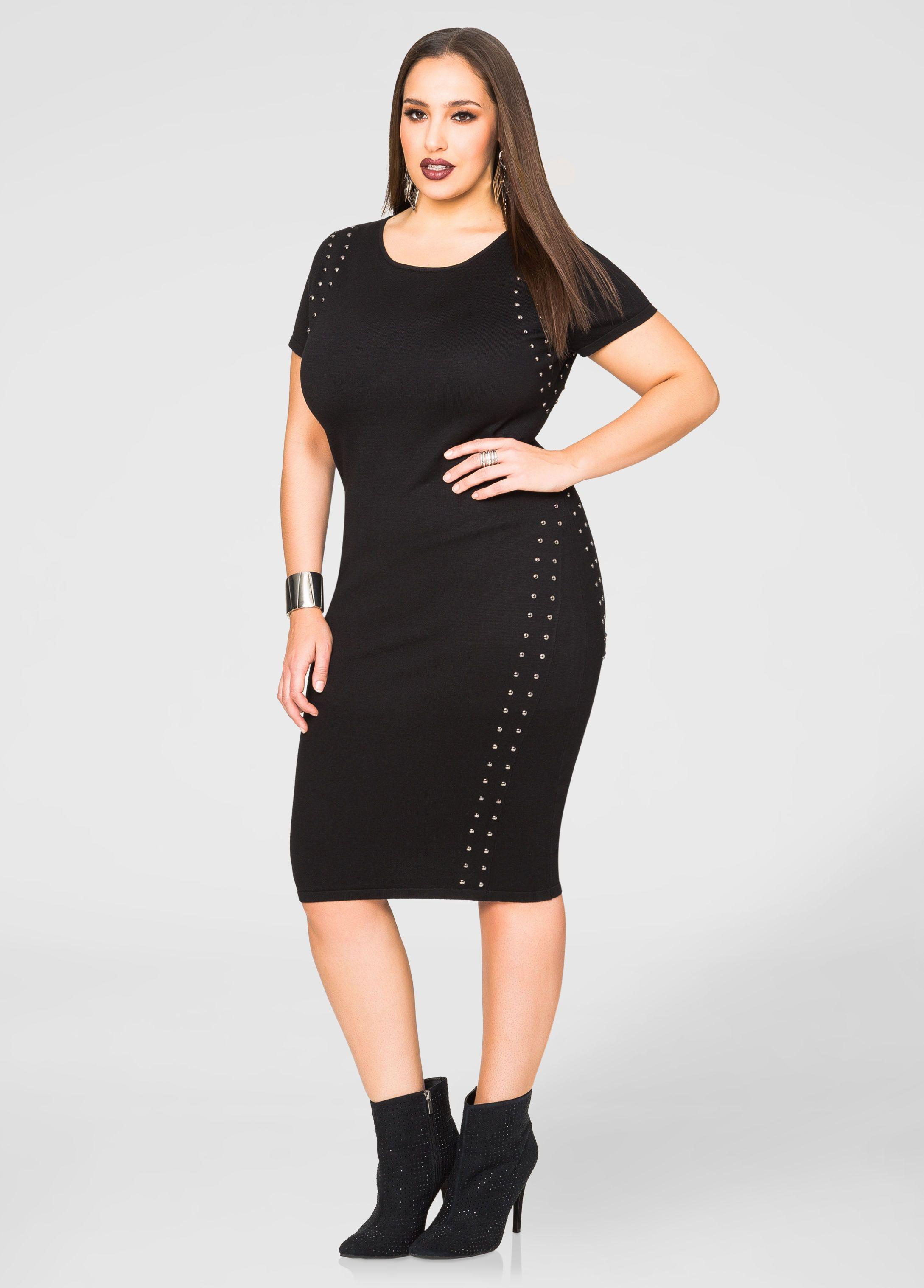 ccd0db135b5 Cap Sleeve Studded Sweater Dress - Ashley Stewart