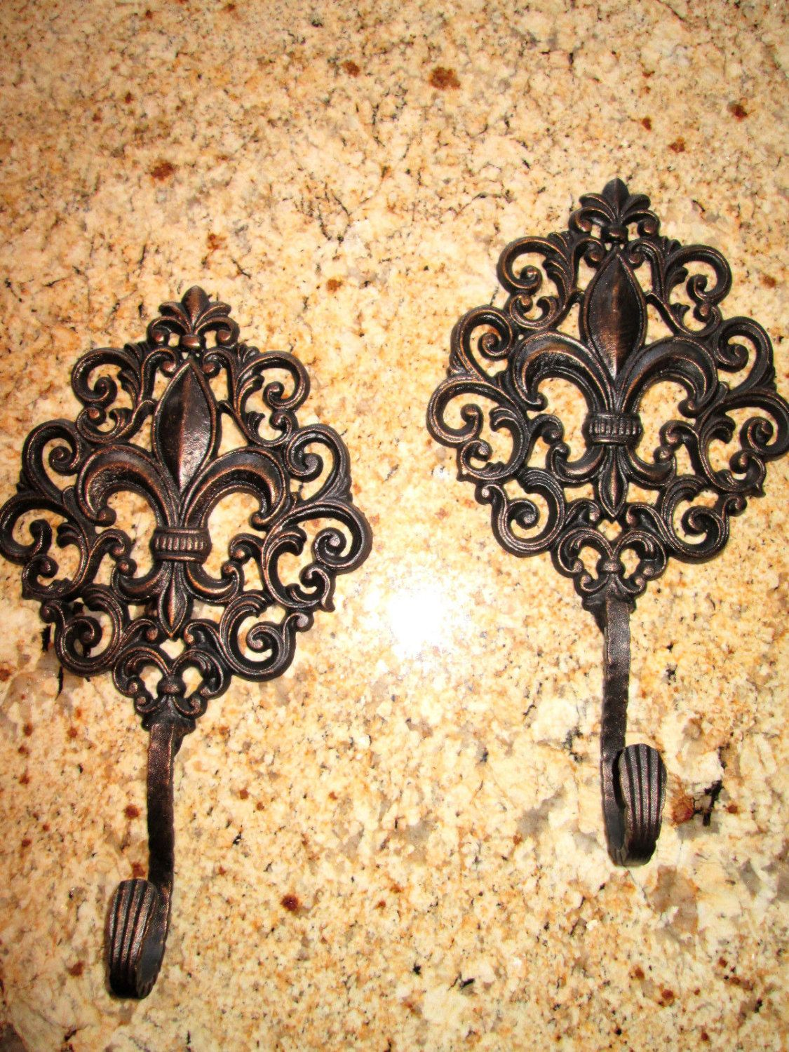 Set of 2 Iron Fleur de Lis Wall Hooks / Coat / Hat Hanger Hook Old ...