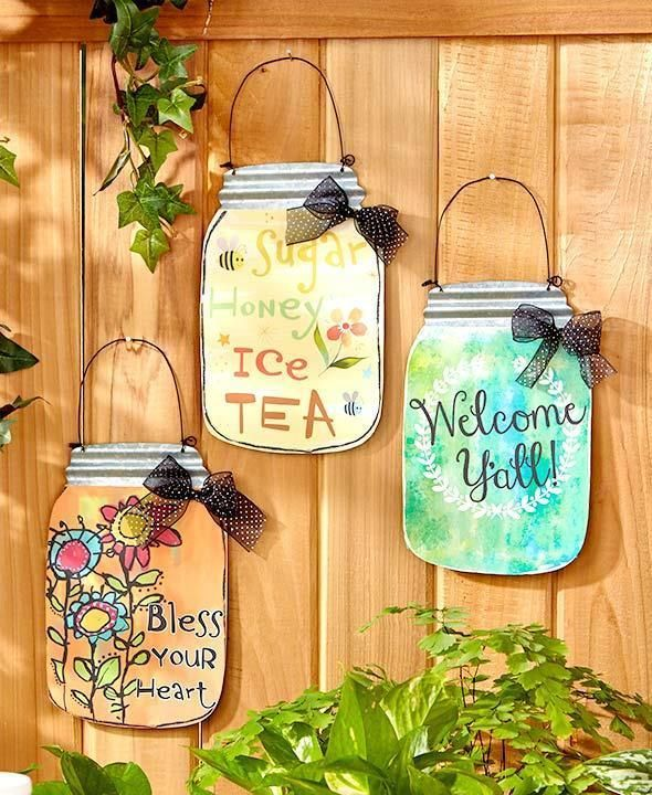Southern Sayings Wall Hangings ~ Mason Jar Art Sign Plaque Country Door Decor  | eBay