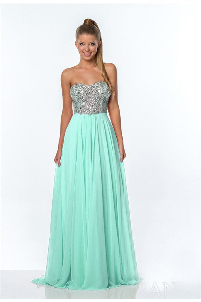 A Line Strapless Mint Green Chiffon Beaded Sparks Long Corset Prom ...