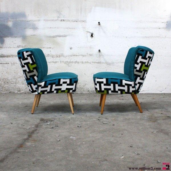 fauteuil cocktail vintage des ann es 50 tissu g om trique vert bleu mille m2 de chaises en. Black Bedroom Furniture Sets. Home Design Ideas