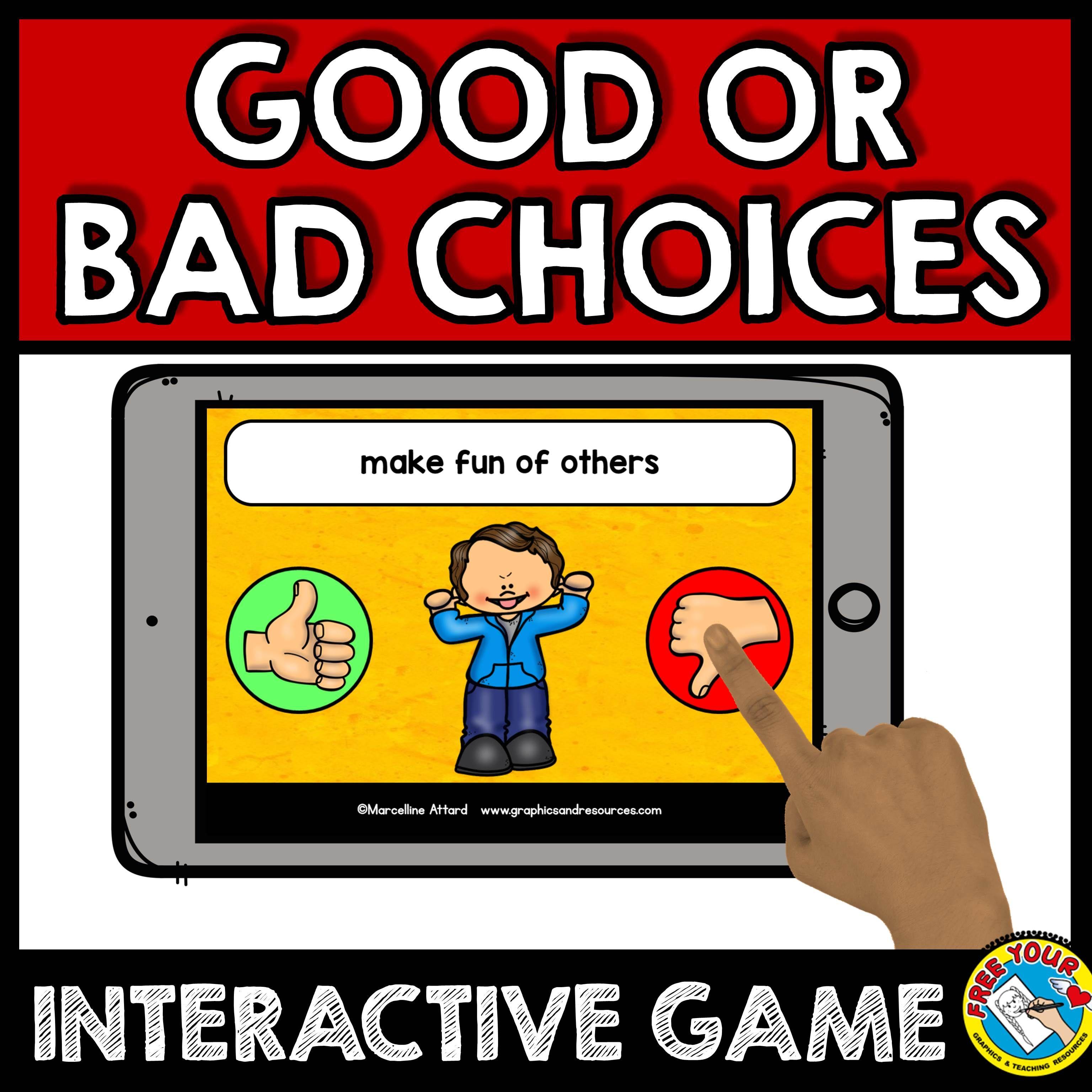 Back To School Activity Kindergarten Good Choices Vs Bad