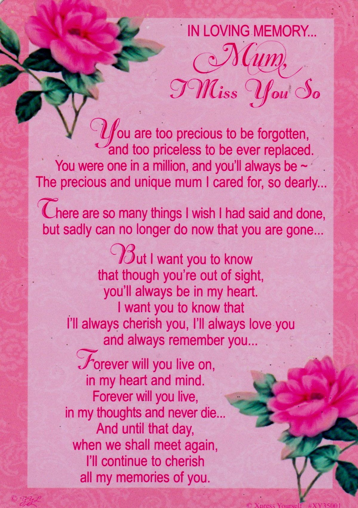 home cards in loving memory mum i miss you so much grave ...
