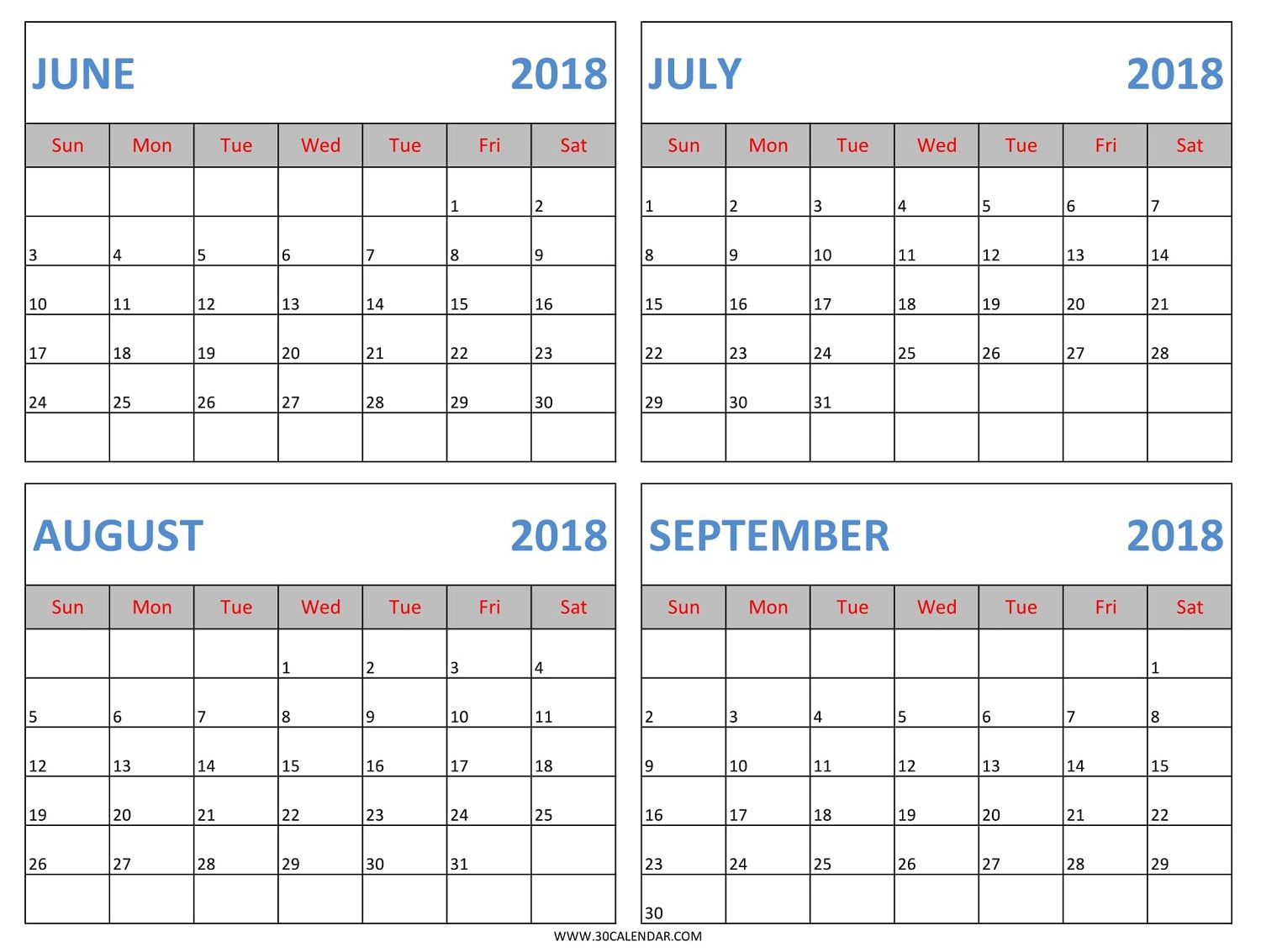 Download June July August September 2018 Calendar Template In Excel