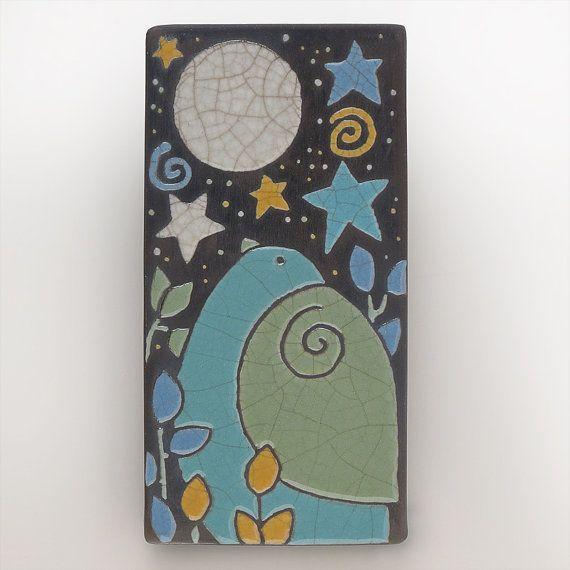 Bird Moon and StarsCeramic tileWhimsical handmade by DavisVachon, $38.00