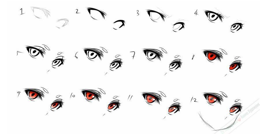 Картинки аниме глаза для срисовки парней