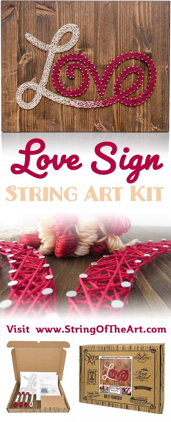Red and White Love String Art Kit