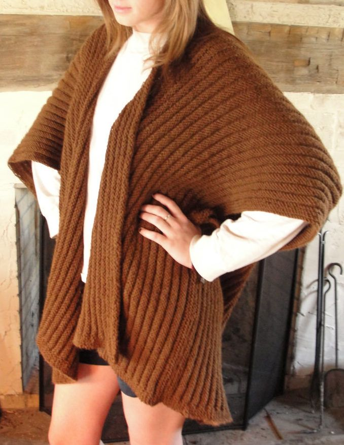 Free Knitting Pattern For Ruana Style Wrap This Project Is Knit In