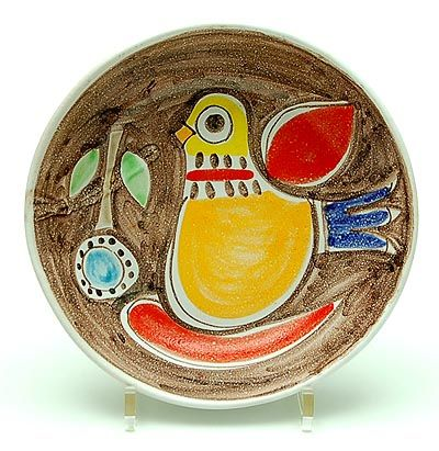 Polychrome decorated earthenware bowl depicting a bird design executed by Desimone / Italy ca.1965