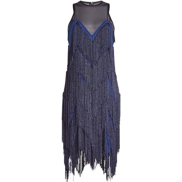 Galvan Fringed Silk Dress ($1,935) ❤ liked on Polyvore featuring ...