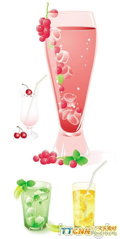 Icy fruit drinks vector