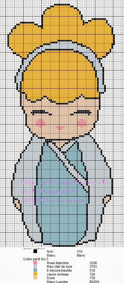 Encontrado en grillespoindecroixetcie.blogspot.fr  Cinderella Kokeshi pattern by grilles point de croix et cie