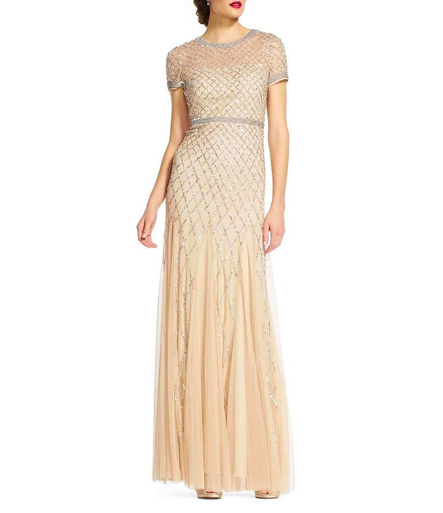 e087ae356af Champagne Adrianna Papell Beaded Short Sleeve Gown-FAVORITE ...