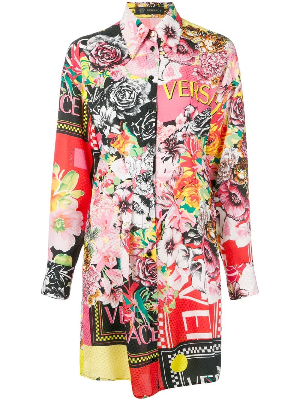 9250ade659 Versace floral mania shirt dress - Red in 2019 | Products | Shirt ...