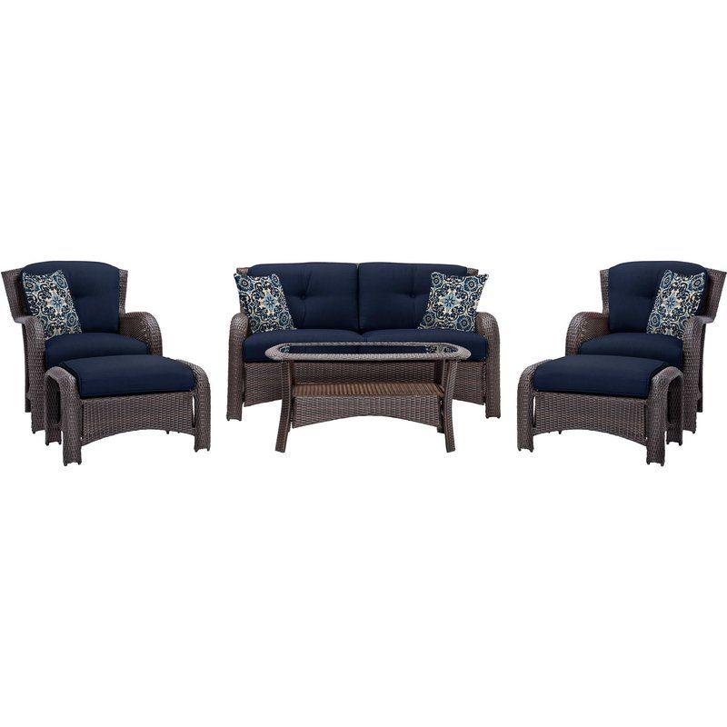 Asherman 6 Piece Rattan Sofa Seating Group with Cushions #resinpatiofurniture