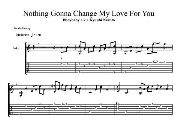 Nothing Gonna Change My Love For You Guitar Tab Pinterest