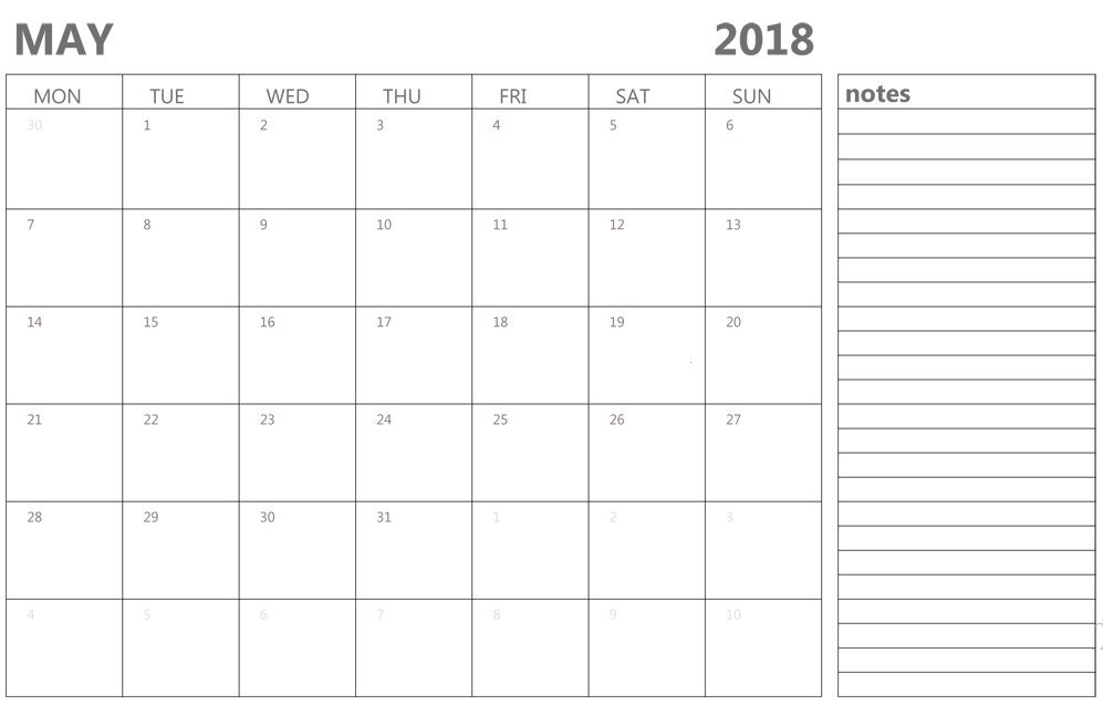 Editable May 2018 Calendar Calendar 2018 Pinterest