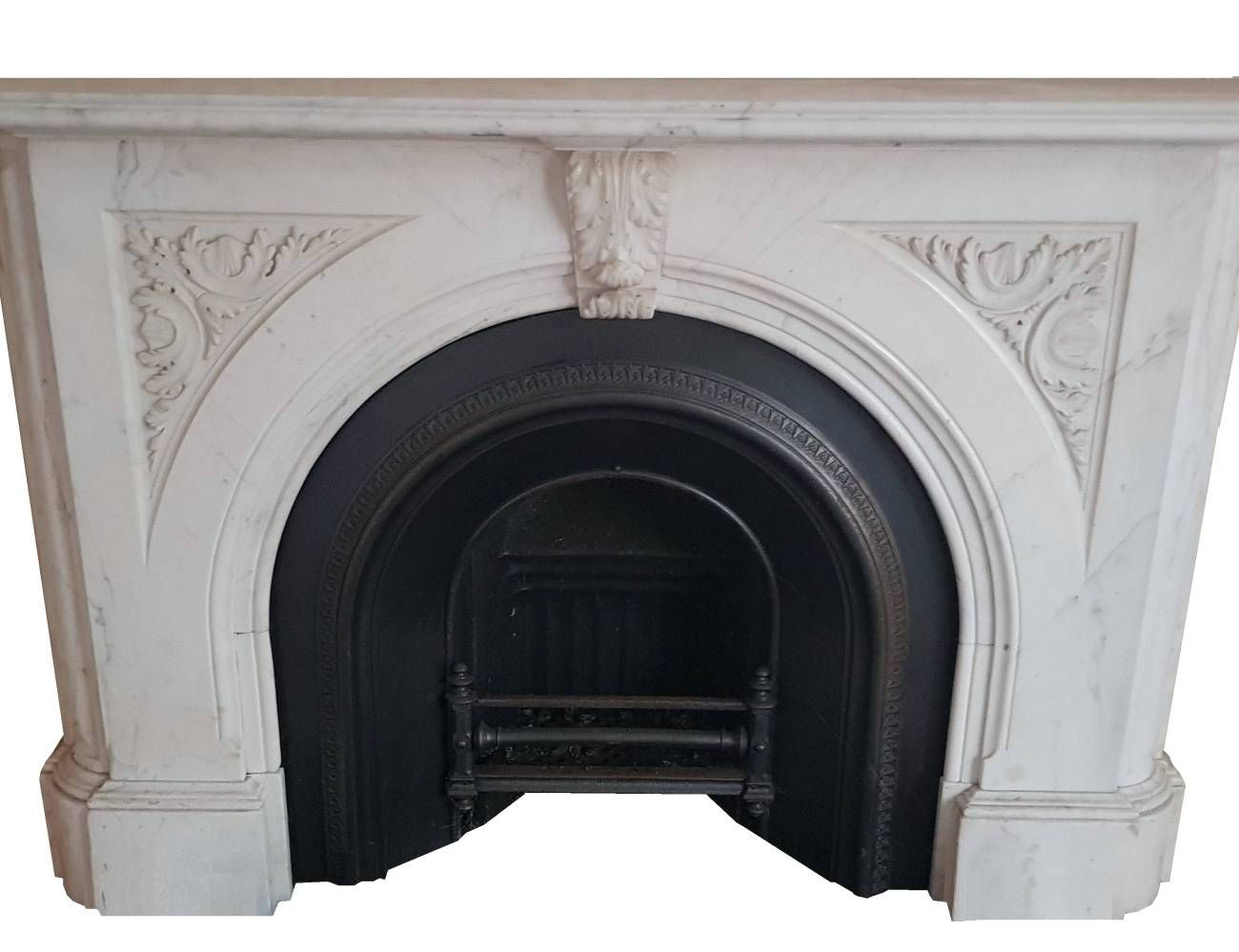 Antique Large Victorian Arched Carrara Marble Chimneypiece Fireplace Fireplace Inserts
