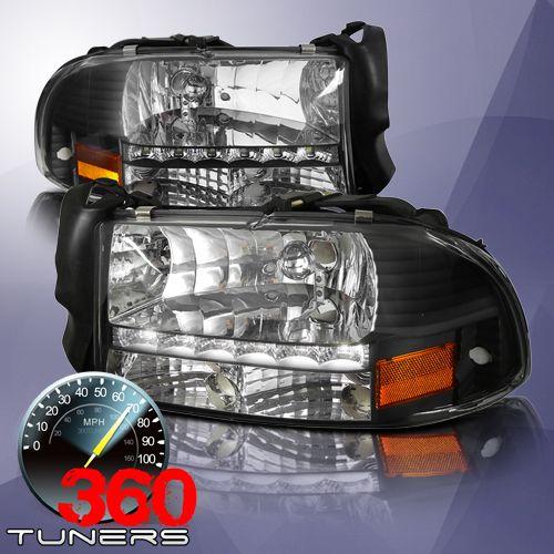 97 04 Dodge Dakota 98 03 Durango Led Crystal Headlights With Xenon Hid Lighting System Corner Lights Pair Black