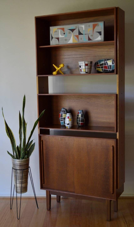 retro mid century danish modern teak modular shelf bookshelf