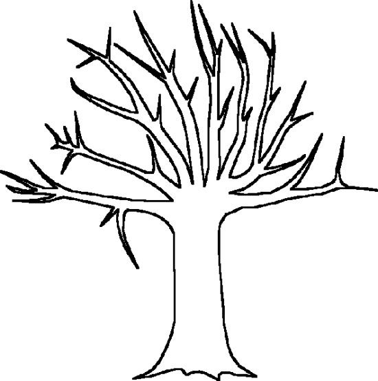 big tree without leaves coloring page - Tree Leaves Coloring Page