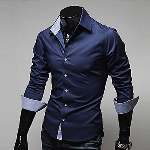 ec4796f0d4ced Men s Daily Work Business Casual Spring Fall Plus Size Shirt