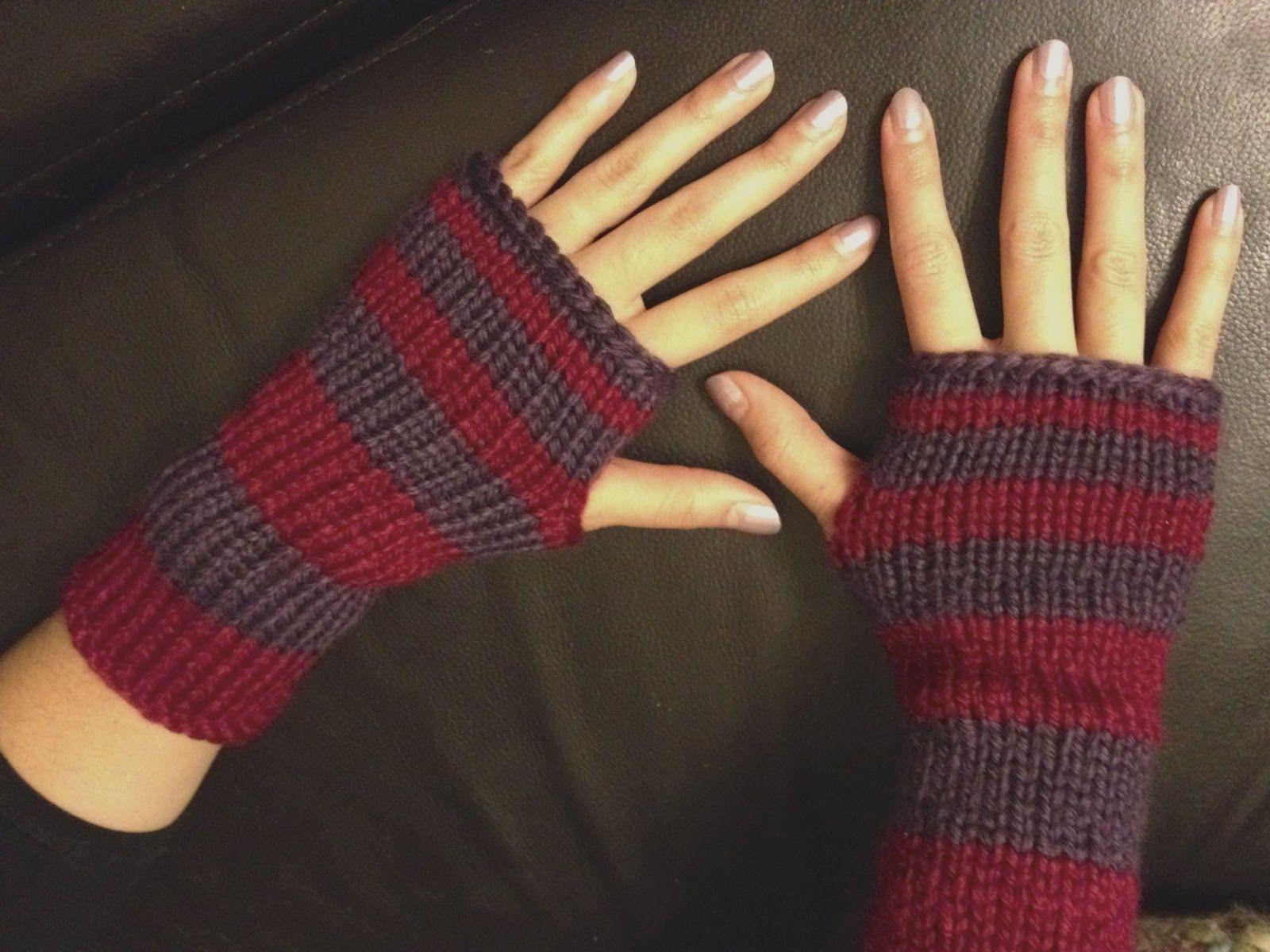 Wool & Flax: Fingerless Stripes Gloves