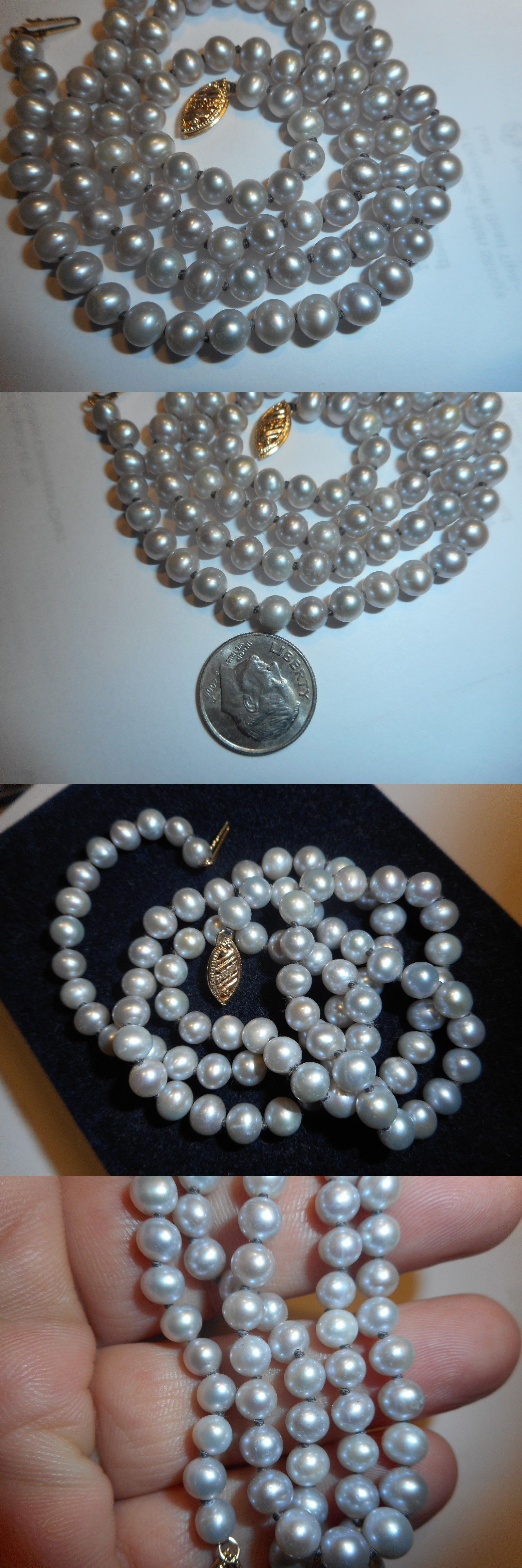 Necklaces and Pendants 165042: 14K High Quality Round Light Gray Cultured 5Mm Pearl 20.5 Necklace Vintage -> BUY IT NOW ONLY: $59.99 on eBay!