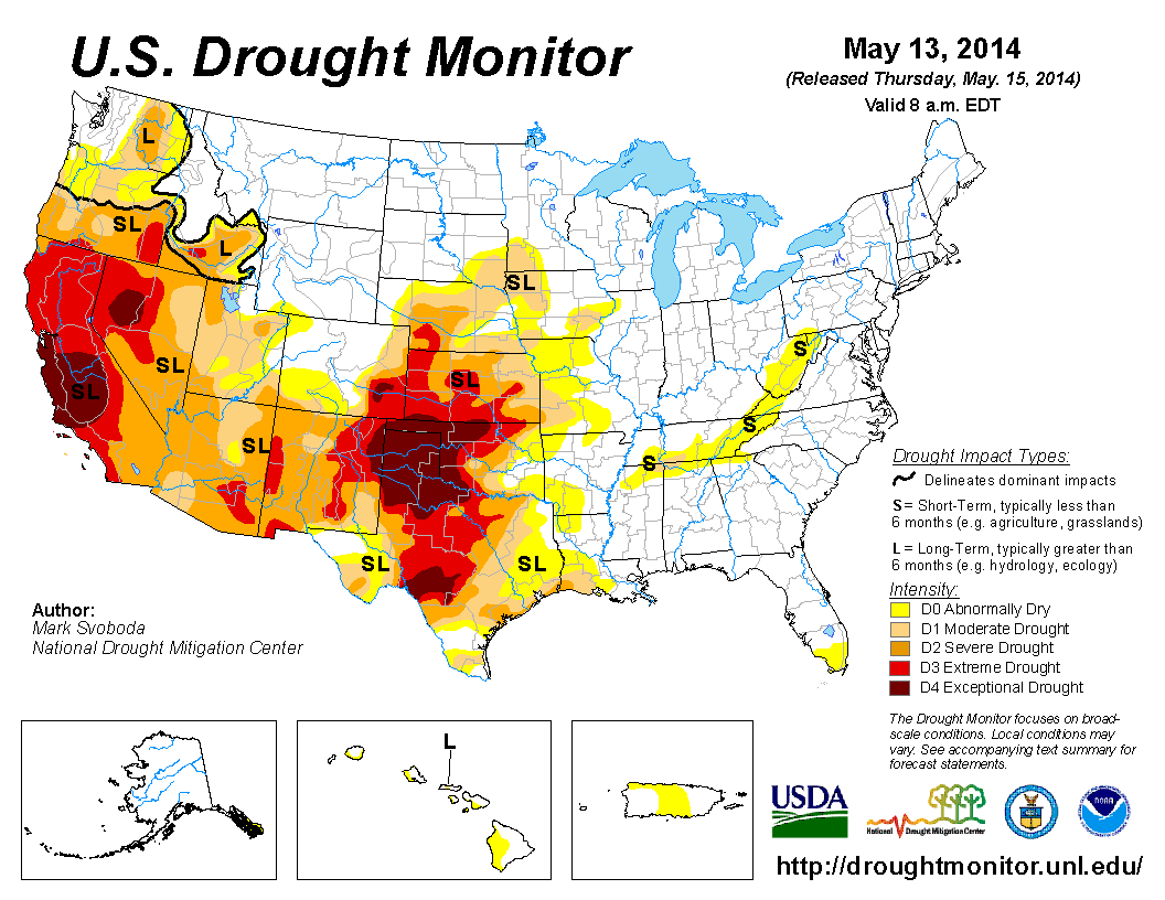 Experts Are Predicting That The Recent Drought In The Western Half - Us droup map california chage