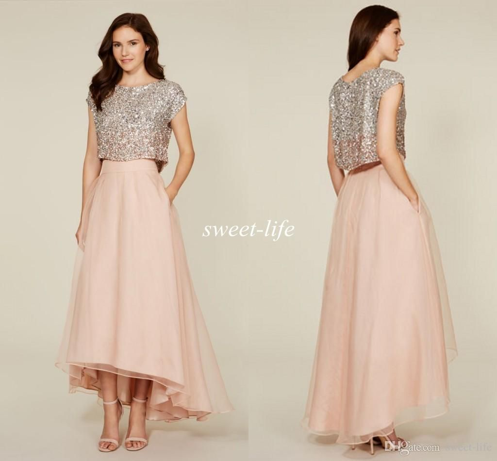 2015 two pieces prom dresses shiny beading sexy cheap a line short 2015 two pieces prom dresses shiny beading sexy cheap a line short sleeves blush hi lo beach bridesmaid dresses party evening dress ombrellifo Gallery