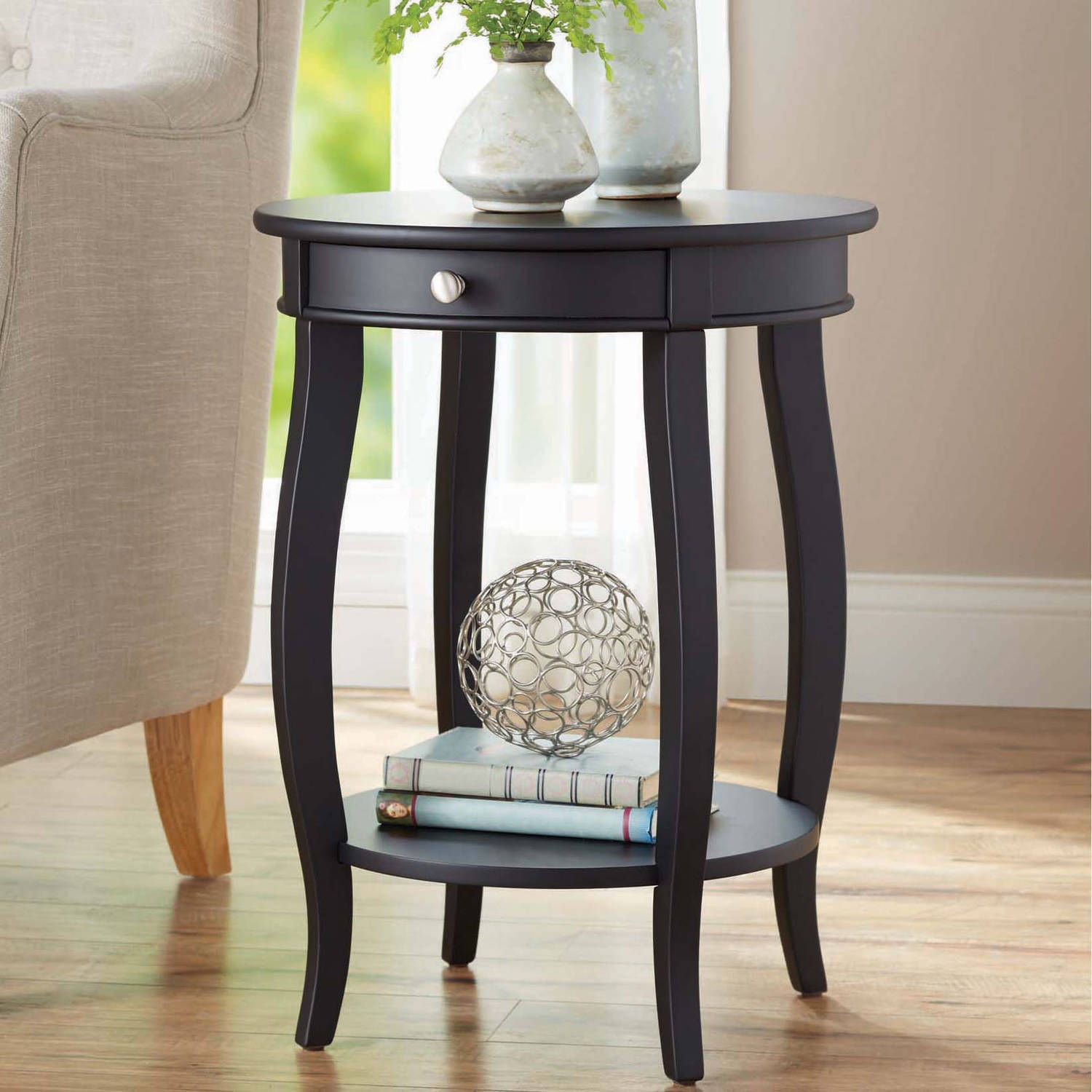 Better Homes Gardens Round Accent Table With Drawer Black Walmart Com Round Accent Table End Tables With Drawers Small Accent Tables