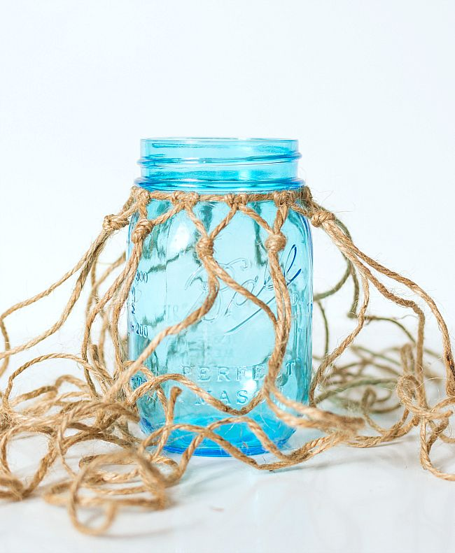 Fishnet wrapped mason jar fishnet jar and wraps fishnet wrapped mason jar solutioingenieria Image collections