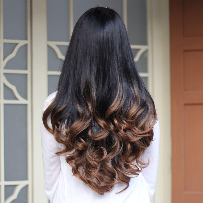 Setengah Wig Keriting Rambut sintetis Panjang Bergelombang Ombre Setengah  Wig untuk wanita Perempuan Keriting Rambut Palsu Wig Murah Wanita Realistis  Waria 9bbcdd87ac
