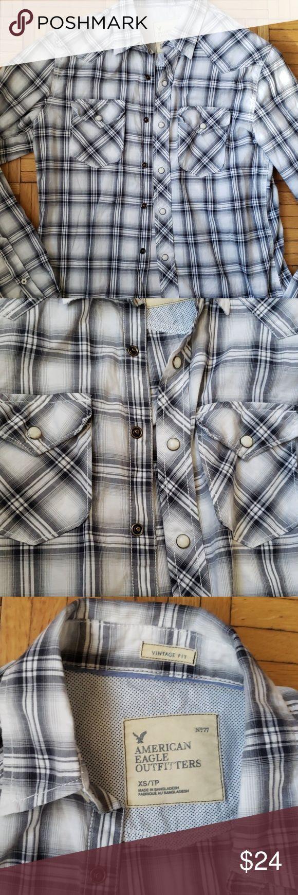 Vintage American Eagle shirt Vintage American Eagle shirt - drukknoop voorkant - s ...,  Vintage American Eagle shirt Vintage American Eagle shirt - drukknoop voorkant - s ...,