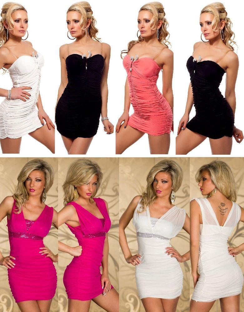 Details zu Neu Bandeau Kleid Party Minikleid Glitzer Abendkleid Gold ...