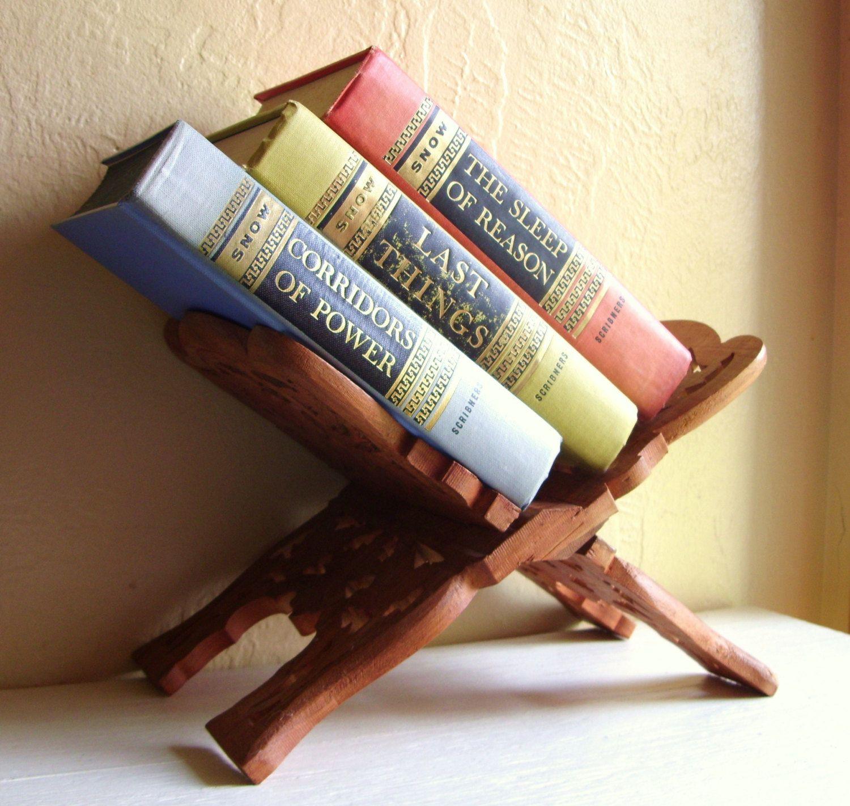 beautiful vintage carved wood book stand rustic brown 20 00 via