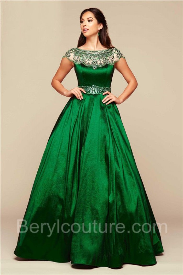 f827b74c337 Modest Ball Gown Bateau Neck Cap Sleeve Emerald Green Taffeta Beaded Prom  Dress