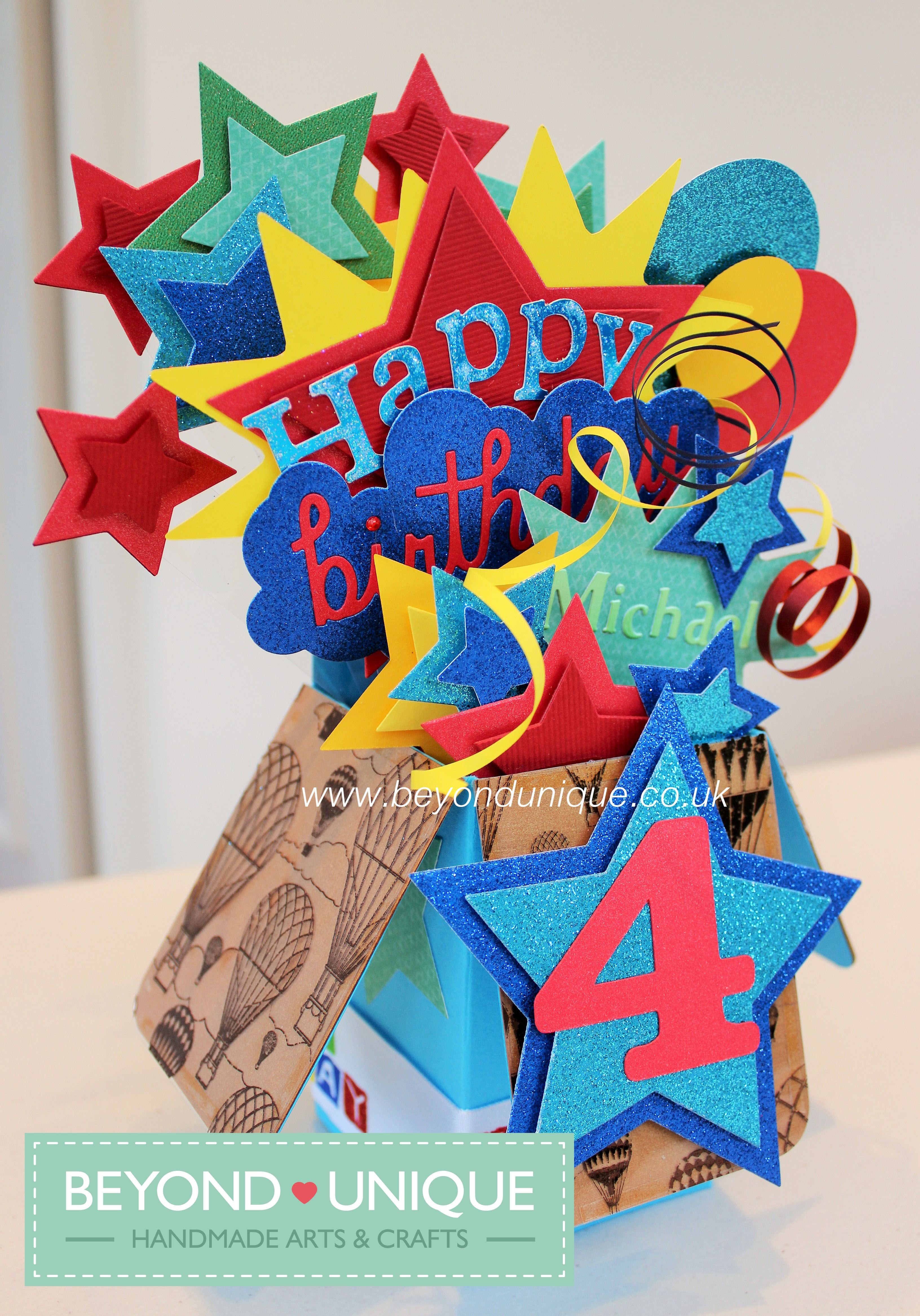 Handmade Boys Happy Birthday Pop Up Box Card Design Please Like Our Facebook Page Https Www Facebook Com Exploding Box Card Pop Up Box Cards Pop Up Cards