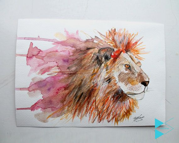 lion abstract painting on watercolour using different materials to make.