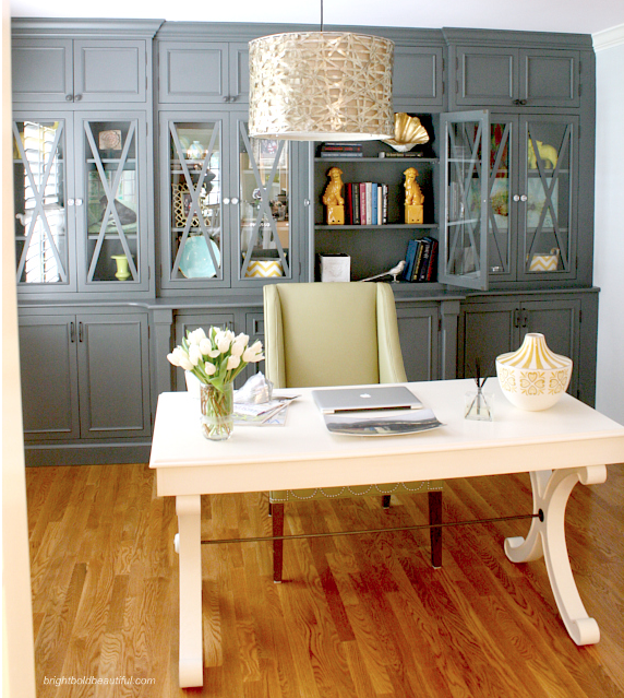 This Home Office Is Stunning! Love, Love The Wall Of Gray Cabinets!