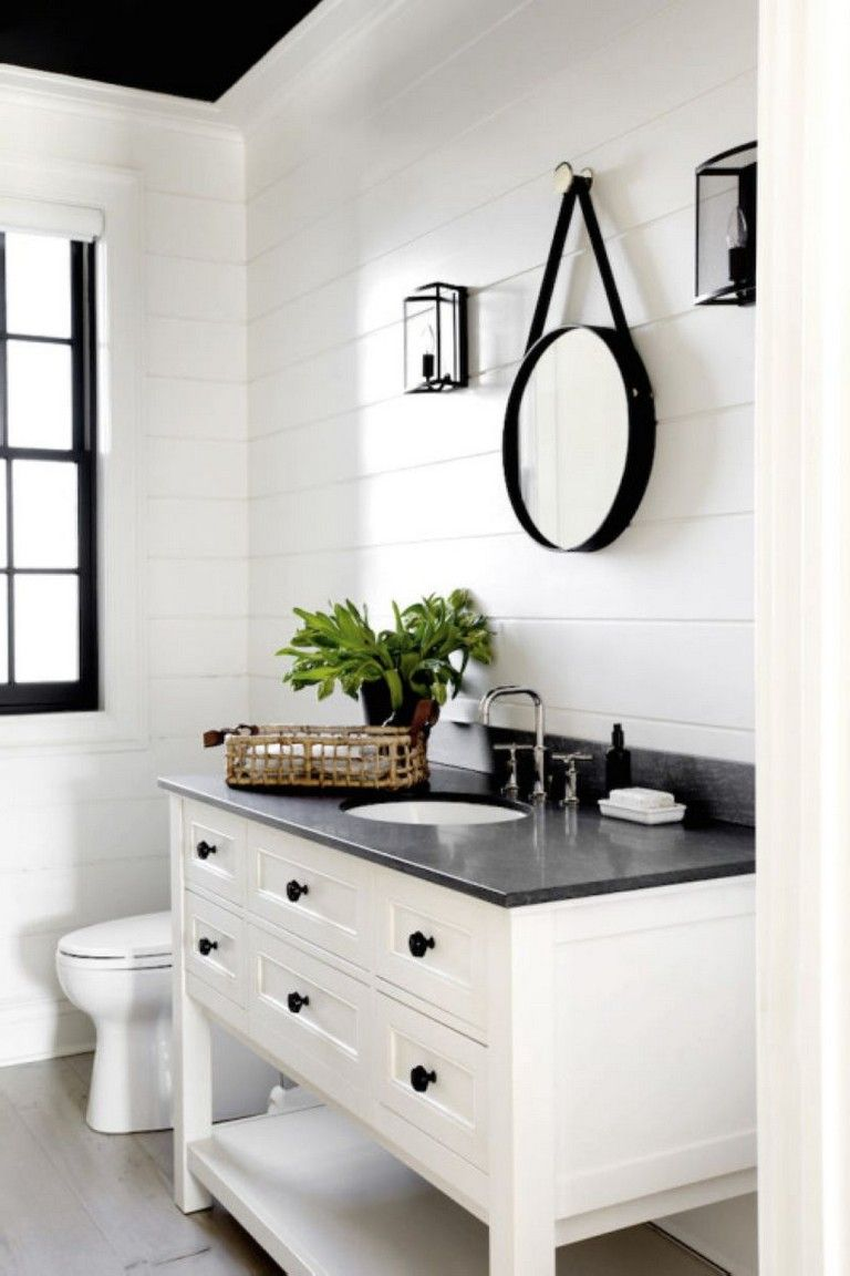 39 Elegant Black White Bathroom Design Ideas Simple Bathroom Remodel White Bathroom Decor Black White Bathrooms