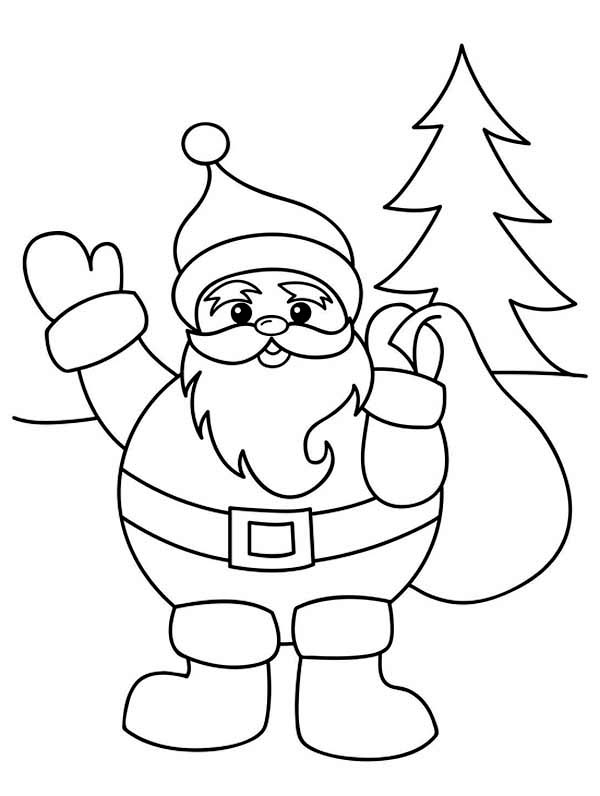 Santa Claus With Christmas Sack On His Back On Christmas Coloring Page Coloring Sky Santa Coloring Pages Xmas Drawing Christmas Coloring Pages