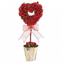 (Valentines Decorations Heart Topiary w Wood Roses 16 inch) we're painting the roses red! ^^